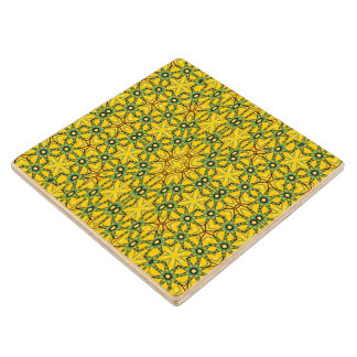 Abstract trendy pattern wood coaster