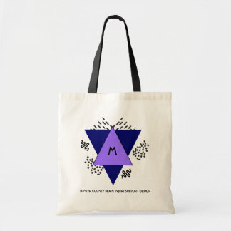 Abstract Triangles and Doodles Monogram Tote Bag