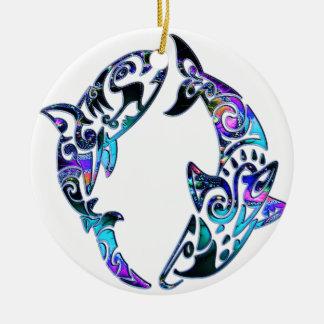 Abstract Tribal Sharks Circling Christmas Ornament