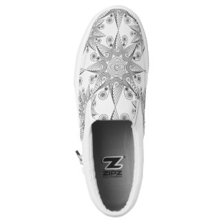 Abstract tribal snowflake design slip on shoes