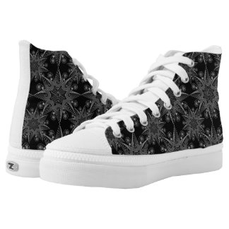 Abstract tribal snowflake on black background, high tops