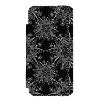 Abstract tribal snowflake on black background incipio watson™ iPhone 5 wallet case