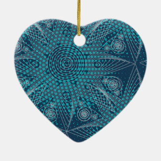 Abstract tribal snowflake with halftones ceramic heart decoration