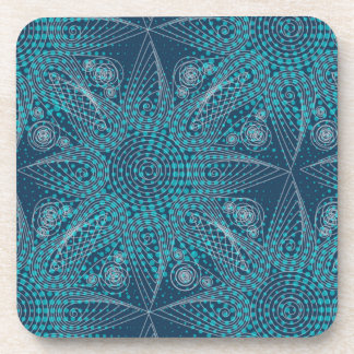 Abstract tribal snowflake with halftones coaster