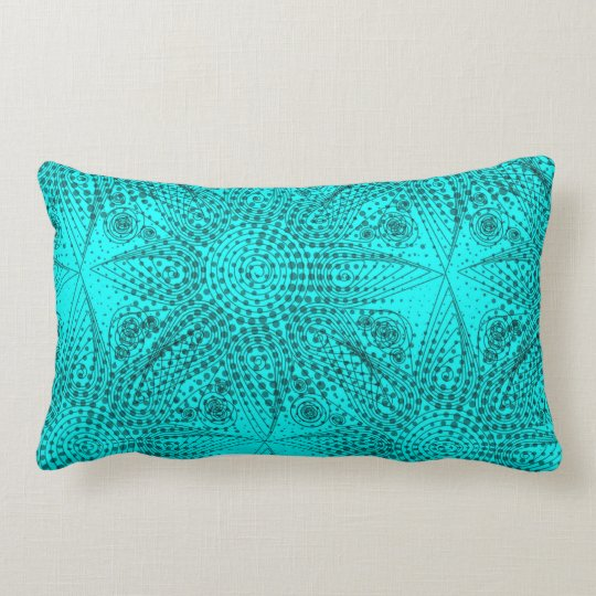 Abstract tribal snowflake with halftones lumbar pillow