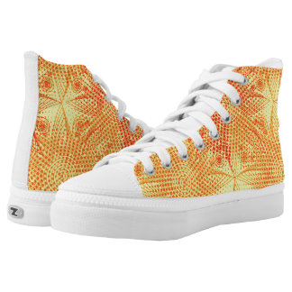 Abstract tribal snowflake with halftones, retro fu high tops