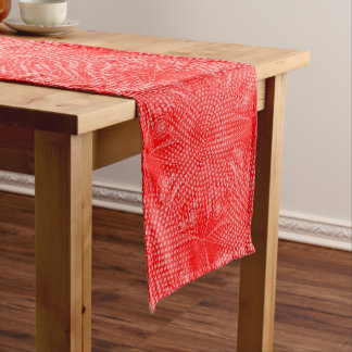 Abstract tribal snowflake with halftones short table runner