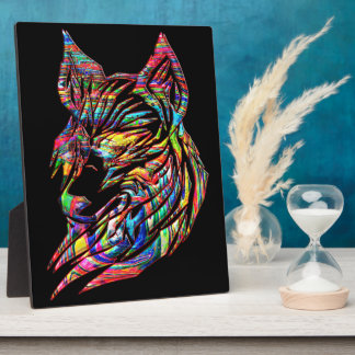Abstract Tribal Wolf Plaque