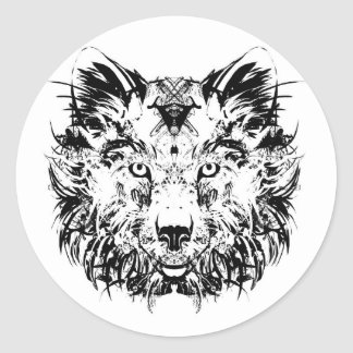 Abstract Tribal Wolf Stickers