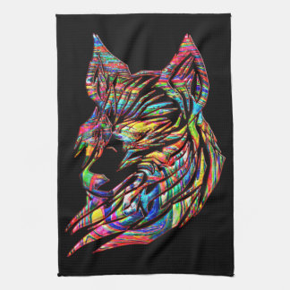 Abstract Tribal Wolf Tea Towel