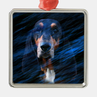 Abstract tricolor Basset Hound Christmas Ornament