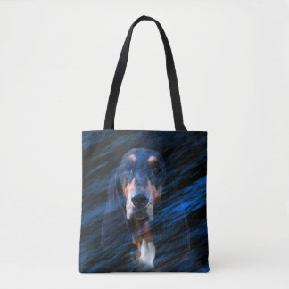 Abstract tricolor Basset Hound Tote Bag