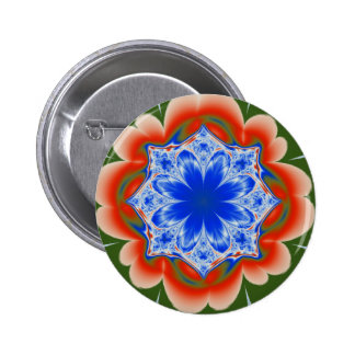 Abstract Tropical Blue Flower Plant 6 Cm Round Badge