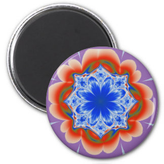 Abstract Tropical Blue Flower Plant 6 Cm Round Magnet