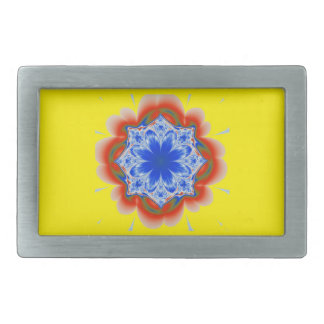 Abstract Tropical Blue Flower Plant Belt Buckle