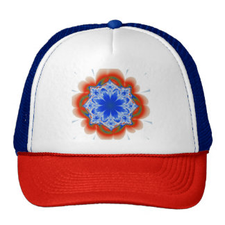 Abstract Tropical Blue Flower Plant Cap