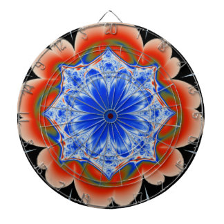 Abstract Tropical Blue Flower Plant Dartboard
