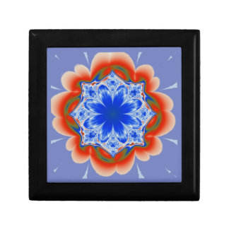 Abstract Tropical Blue Flower Plant Small Square Gift Box