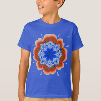 Abstract Tropical Blue Flower Plant T-Shirt