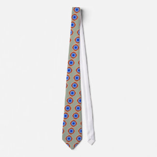 Abstract Tropical Blue Flower Plant Tie