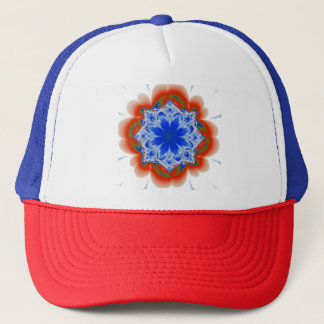 Abstract Tropical Blue Flower Plant Trucker Hat