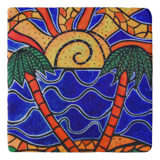 Abstract  Tropical Sunset Trivets