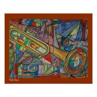 Abstract Trumpet Poster by ValAries