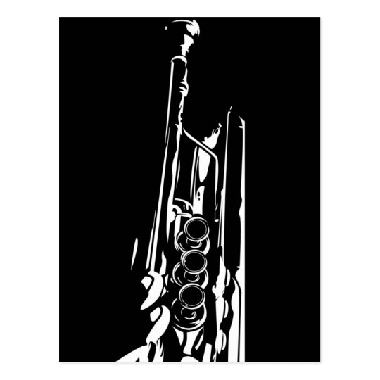 Abstract Trumpet Silhouette Postcard