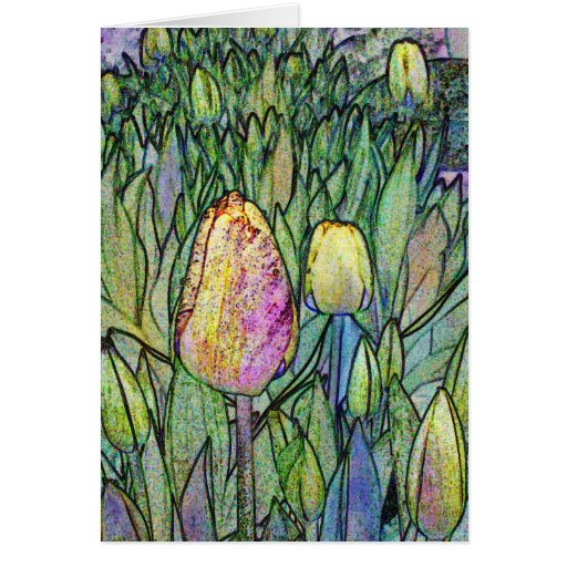Abstract Tulips Card