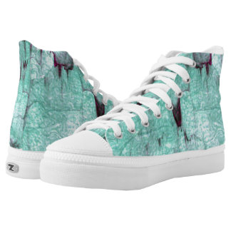 Abstract turquoise and purple digital pattern high tops