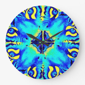 Abstract turquoise and yellow tigers clock