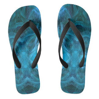 Abstract Turquoise Aqua Fractal Pattern FF Flip Flops