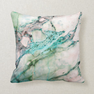 Abstract Turquoise Aquamarine White Mint Marble Cushion