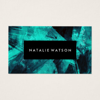 Abstract Turquoise Dark Paint Modern Elegant Business Card