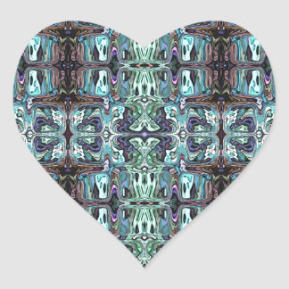 Abstract Turquoise Pattern Heart Sticker