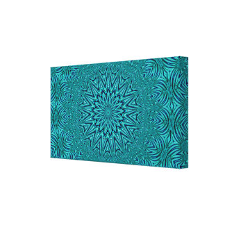 Abstract Turquoise  Star Design Canvas Print