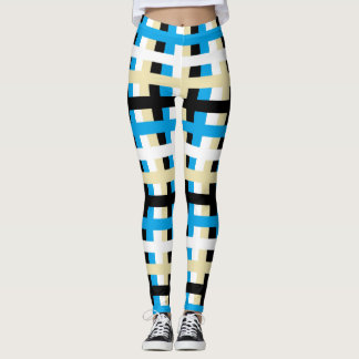 Abstract Turquoise, White, Beige and Black Leggings
