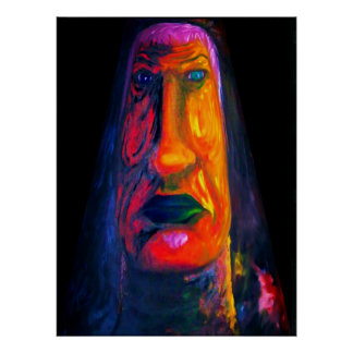 Abstract Two Face Oil Painting Poster