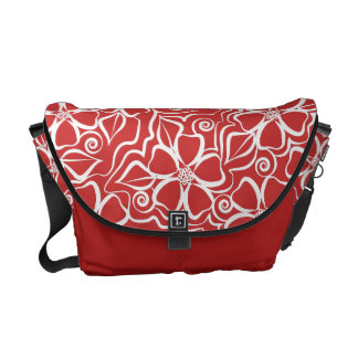 Abstract Urban Floral White & Brick Red Courier Bag