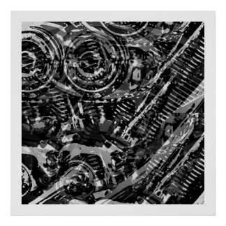 Abstract V-Twin BW Poster