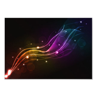 ABSTRACT VECTOR WAVE DIGITAL ART SPACE COLORFUL 9 CM X 13 CM INVITATION CARD