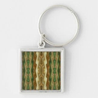 Abstract Vertical Striped Pattern Silver-Colored Square Key Ring