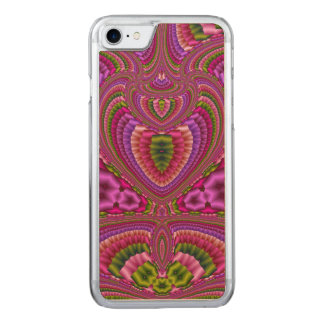 Abstract vibrant colorful fractal hearts carved iPhone 8/7 case