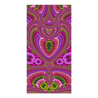 Abstract vibrant colorful fractal hearts photo card