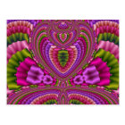 Abstract vibrant colourful fractal hearts postcard