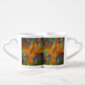Abstract Vibrant Fractal Butterfly Coffee Mug Set