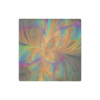 Abstract Vibrant Fractal Butterfly Stone Magnet