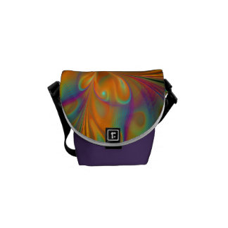 Abstract Vibrant Fractal Butterfly Messenger Bag