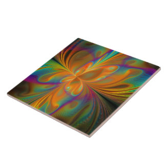Abstract Vibrant Fractal Butterfly Tile