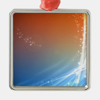 Abstract Vibrant Hot and Cold Silver-Colored Square Decoration
